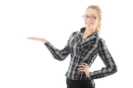 attractive girl holding copyspace in hand. studio shot