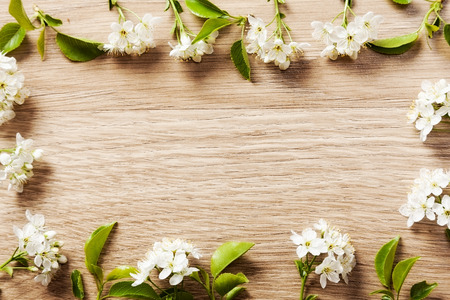 beautiful flowers cherry on a vetochkahv frames on wooden background texture.