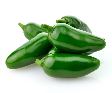 hot green pepper  on white background, close up