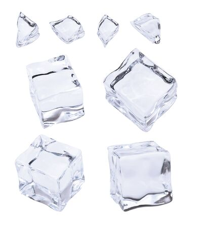 Photo pour Ice and ice cubes, isolated on white background - image libre de droit