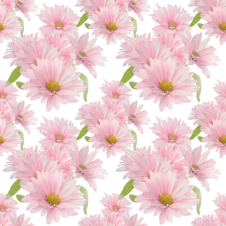 Photo for Seamless floral design with pink daisy flowers for background, Endless pattern. - Royalty Free Image