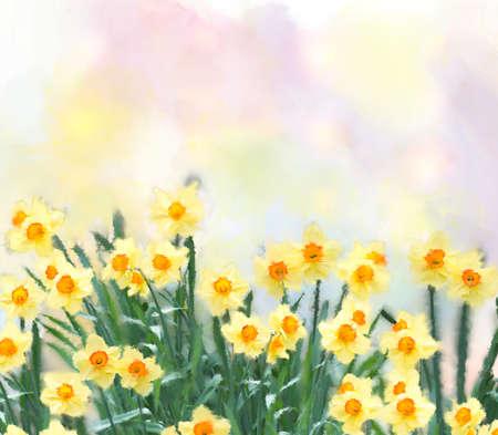 Photo pour yellow daffodil flowers watercolor digital painting - image libre de droit