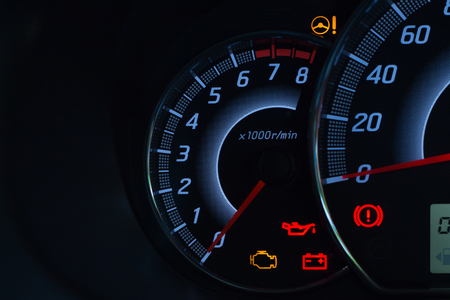 Photo for Screen display of car status warning light on dashboard panel symbols which show the fault indicators - Royalty Free Image