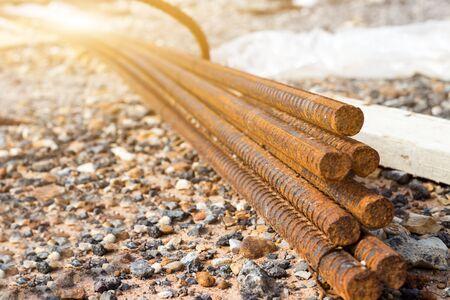 Photo pour steel bar for construction concrete work,mortar in structural basis,infrastructure - image libre de droit
