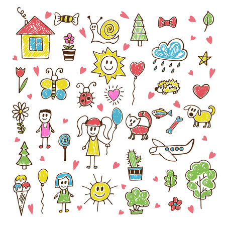 Illustration pour Doodle children drawing. Hand drawn set of drawings in child style. Vector illustration - image libre de droit