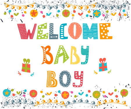 Welcome baby boy. Baby boy arrival postcard. Baby boy shower card. Vector illustration