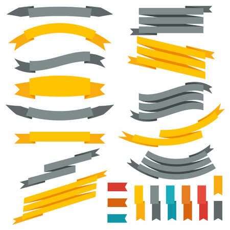 Illustration pour Collection of ribbons and labels. Set of design elements. Vector illustration - image libre de droit