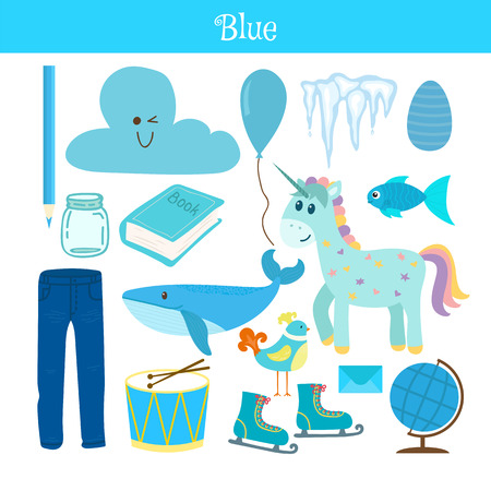 Blue. Learn the color. Education set. Illustration of primary colors. Vector illustration