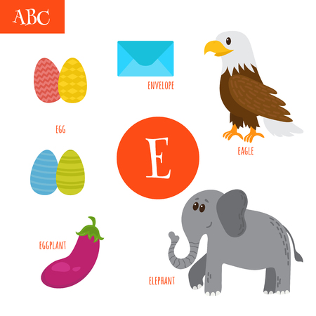 Letter E. Cartoon alphabet for children. Egg, eggplant, elephant, eagle, envelope. Vector illustrationのイラスト素材