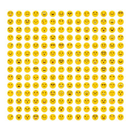 Vektor für Set of emoticons. Flat design. Big collection with different expressions. Cute emoji icons. Avatars - Lizenzfreies Bild