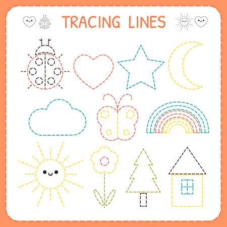 Kindergartens educational game for kids. Preschool tracing worksheet for practicing motor skills. Dashed lines. Vector illustration