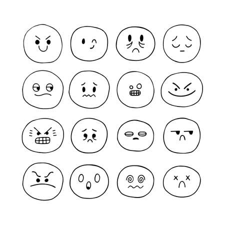 Illustration for Hand drawn funny smiley faces. Sketched facial expressions set. Emoji icons. Collection of cartoon emotional characters. Kawaii style. Vector illustration - Royalty Free Image