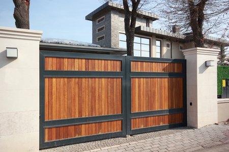 Photo for automatic wooden entry door - Royalty Free Image