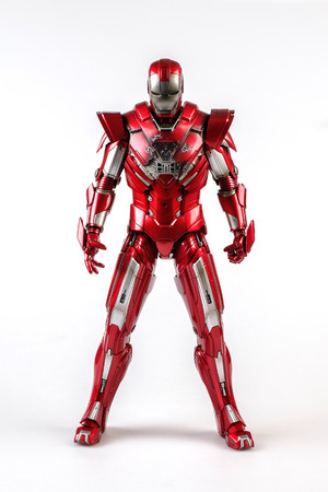 Khonkaen,Thailand - June 13th 2015: Irons MARK XXXIII man figure 1/6 standing gracefully. Iron man is a popular line of construction toys manufactured by the Hottoy Group.