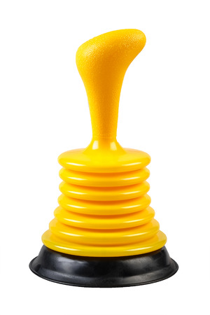 Rubber cup plunger isolated on white