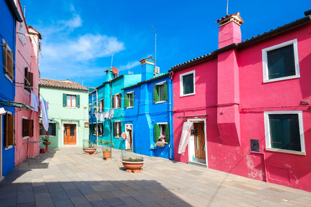 Colorful houses on the famous island Burano, Venice, Italy