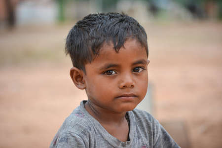 Photo for TIKAMGARH, MADHYA PRADESH, INDIA - SEPTEMBER 14, 2020: Portrait of unidentified Indian boy. - Royalty Free Image