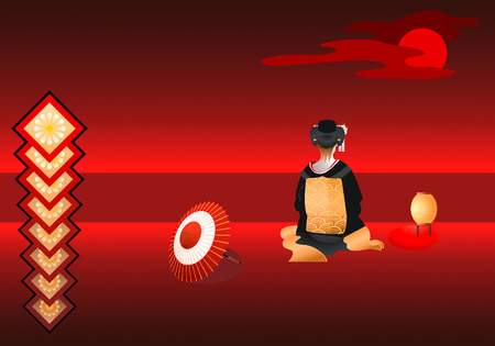 vector illustration of lonely geisha under the red moon