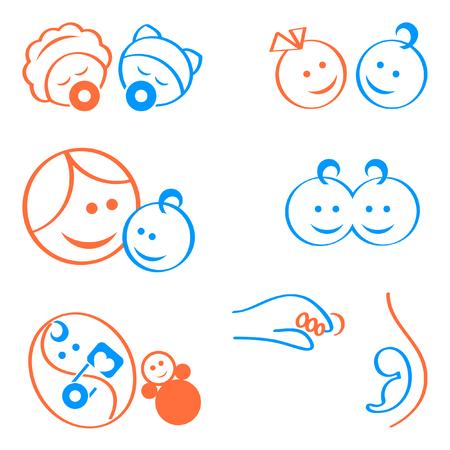 Photo pour Design elements for babies, pregnancy, maternity logos or icons - image libre de droit
