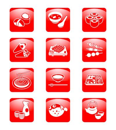 Traditional japanese food: sushi, miso, rolls, temaki (hand rolls), sashimi, yakitori (grilled), soba (noodle), gohan (rice), o-bento (lunch box), sake, fugu (blowfish) and green tea set.の素材 [FY3103284032]