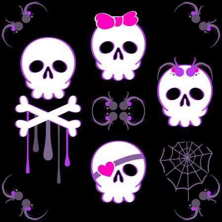 Set of emo skulls with decoration elements
