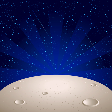 Moon surface over bright star space with comets