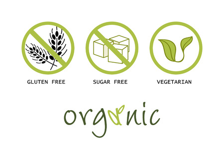 Healthy food symbols - gluten free, sugar free, organic and