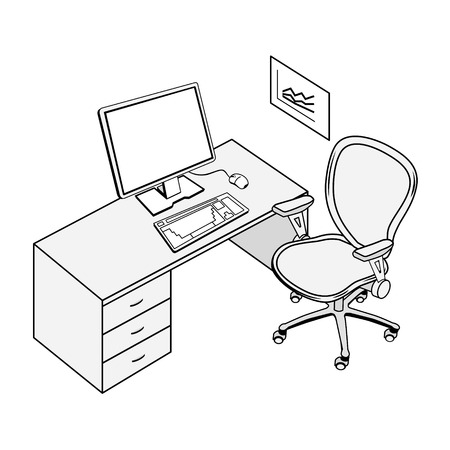 Typical office place in black and white contour drawing