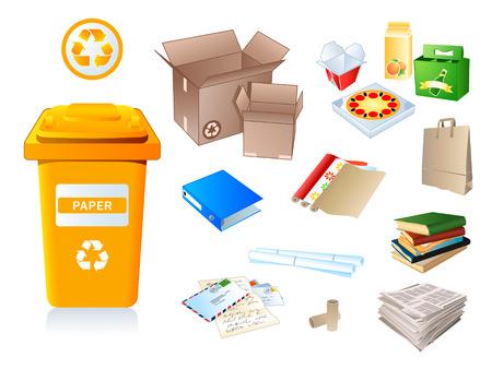 Illustration pour Paper waste and garbage suitable for recycling - image libre de droit