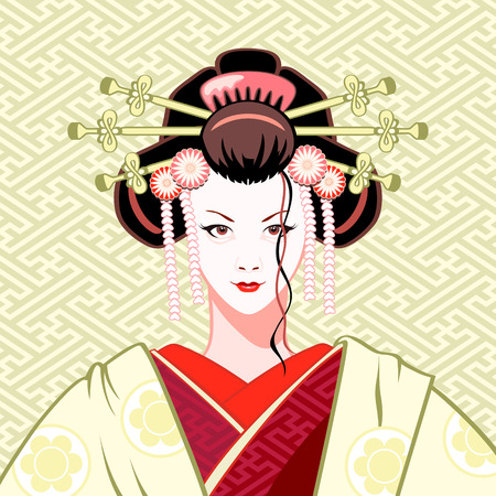 Modern attractive geisha portrait in green-red colors