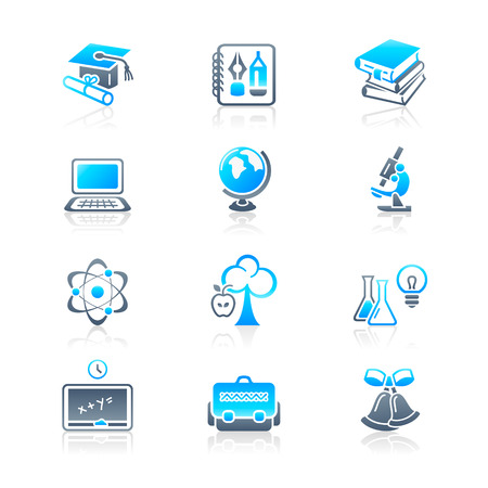 School and college education objects; tools and science symbols vector icon set.