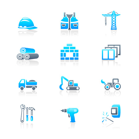 Construction tools, transportation, materials and more icon set