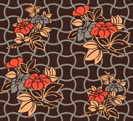 Seamless floral kimono pattern in warm night colors