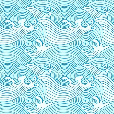 Ilustración de Japanese seamless waves pattern in ocean colors - Imagen libre de derechos
