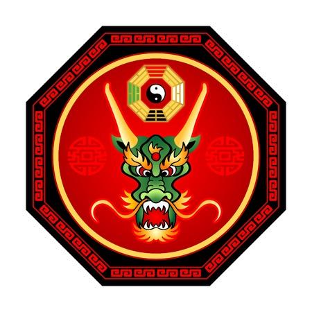 Feng Shui dragon octogram with bagua yin-yang isolated