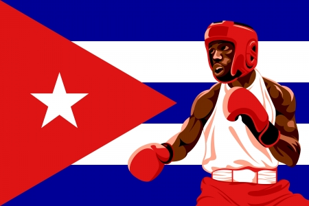 Amateur boxer in protective uniform posing over Cuba flag