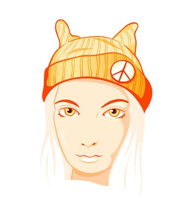 Modern calm and beautiful orange hippie girl