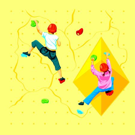 Boy and girl climbing a rock wall