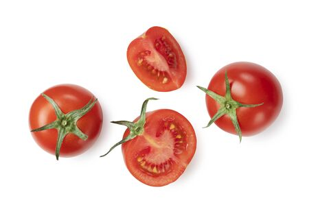 Photo for Tomatoes placed on white background and cut tomatoes shot from above - Royalty Free Image