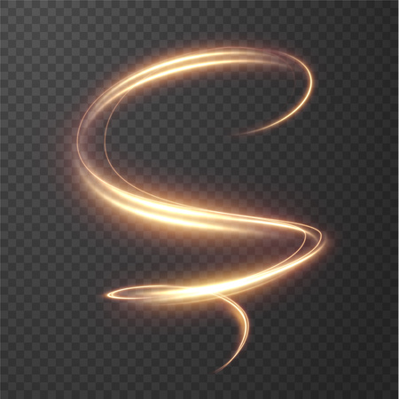 Illustration pour Glowing shiny spiral lines effect vector background. EPS10. Abstract light speed motion effect. Shiny wavy trail. Light painting. Light trail. Vector eps10. - image libre de droit