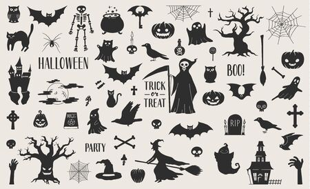 Illustration pour Cute hand drawn Halloween related silhouettes collection. Vector eps10. - image libre de droit