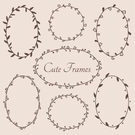 Illustration pour Cute round and oval shaped frames decorative design elements. Vector eps10. - image libre de droit