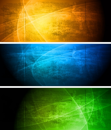 Set of vibrant grunge banners