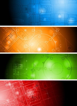 The engineering drawing on vibrant banners. Eps 10 vector