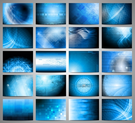 Big set of blue technical background