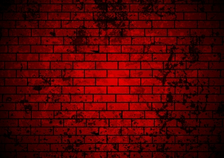 Dark red grunge brick wall background. Vector design