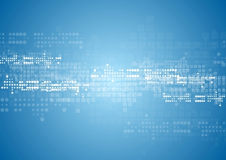 Abstract tech background with squares and circles. Vector blue design