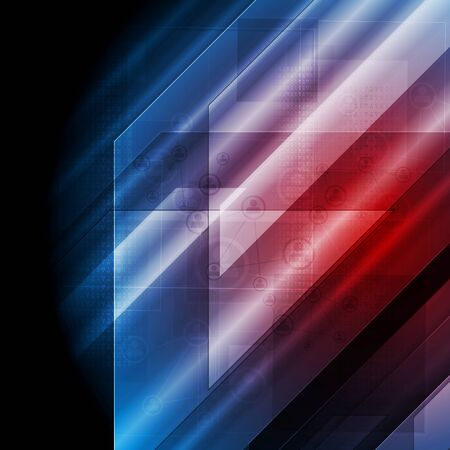 Dark Blue Red Tech Abstract Background Vector Design