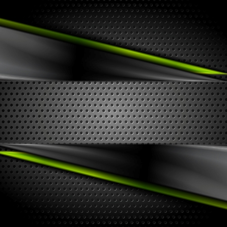 Tech dark glossy background with perforated metal texture. Vector illustration