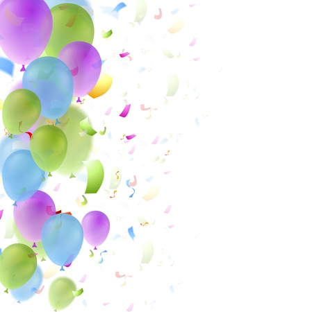 Bright balloons and confetti birthday background. Greeting card vector design